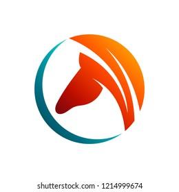 circle emblem horse logo design with flat style