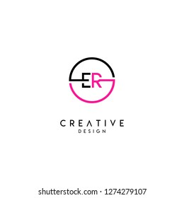 circle er logo letter design concept in pink and black colors