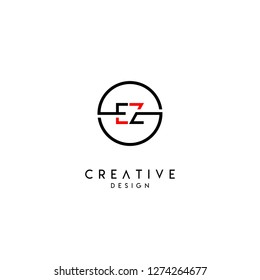 circle ez logo letter design concept in black and red colors
