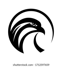 Circle falcon eagle  logo symbol. Vector template. Black and white tattoo design.