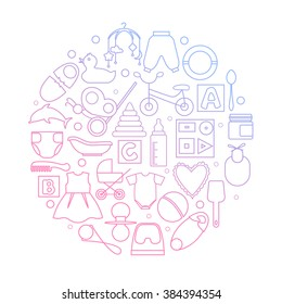 Circle filled with linear icons of clothes, toys, feeding bottle and different stuff for newborn baby. EPS10.