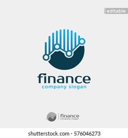 circle finance logo. modern eye catching logo with blue color