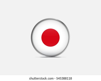 Circle flag of Japan on light gray background