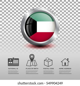 Circle flag of Kuwait in glossy icon button with national Id, place of birth, postal code and home address flat icon on transparent background. Vector illustration eps.10