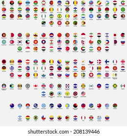 Circle flags of the world, all sovereign states recognized by UN, collection, listed alphabetically by continents, eps 10