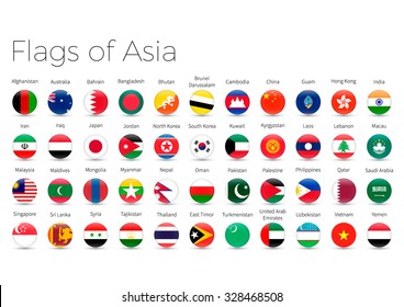 Circle Flags Of The World. Flags of Asia