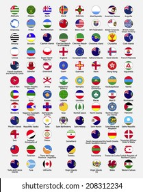 Circle flags of the world, dependencies, provinces, islands, territories, disputed territories, regions, non recognized by UN, self proclaimed, collection, eps 10