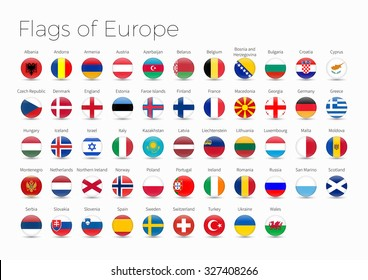 Circle Flags Of The World. Flags of Europe