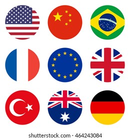 Circle flags of the world, flat style icons, isolated on white background, vector illustration.