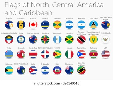 Circle Flags Of The World. Flags of  North, Central America