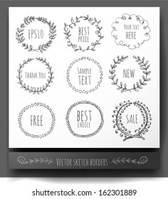 Circle floral borders. Sketch frames, hand-drawn with ink. Vector illustration.