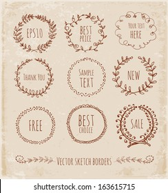 Circle floral borders. Sketch frames, hand-drawn in vintage style. Vector illustration.