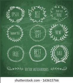 Circle floral borders. Sketch frames, hand-drawn on green chalckboard Vector illustration.