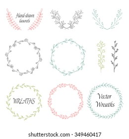 Circle floral borders, wreaths, frames. Sketch elements, hand-drawn with ink. Hand-drawn frames/wreaths
