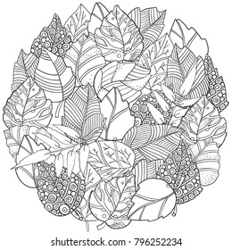 Circle floral doodle background pattern in vector with autumn leaves.  Design Asian, zentangle, memphis pattern. Black and white Coloring book. Monochrome.