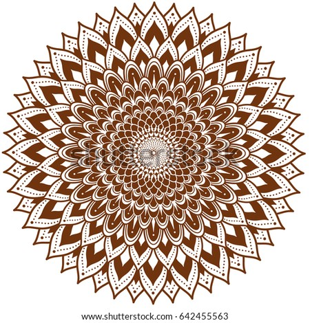 Circle Floral Ornament Henna Tattoo Style Stock Vector Royalty Free