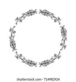 circle floral vintage draw frame vector illustration