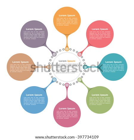Circle Flow Diagram Template Eight Elements Stock Vector Royalty