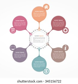 Circle flow diagram template with six elements, vector eps10 illustration