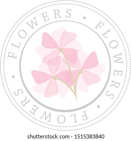 Circle Flowers Badge Stamp Seal with Pink Petals