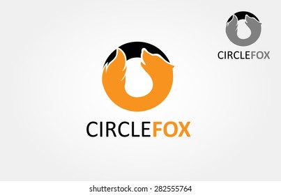 circle fox vector logo. The main of the logo is a simple silhouette of fox that incorporate with a circle.