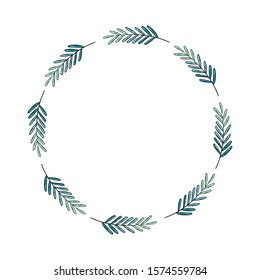 Circle frame with abstract branches on white background - Hand drawn floral illustration with space for text - Winter mood, green tones