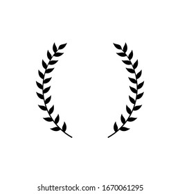 Circle frame from black silhouette of two laurel branches in flat style, vector illustration isolated on white background. Icon or emblem of laureate or bay wreath as symbol of victory and triumph