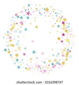 Circle frame border of star sparkle texture glitter pattern. Premium colored confetti of flying stars, magic geometric sparkles stardust vector background card frame. Carnival party design.