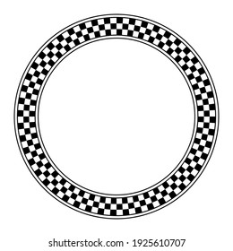 Circle frame with checkered pattern. Round border with checkerboard pattern, made of a checkerboard diagram, consisting of black and white alternating squares, framed with lines. Illustration. Vector.