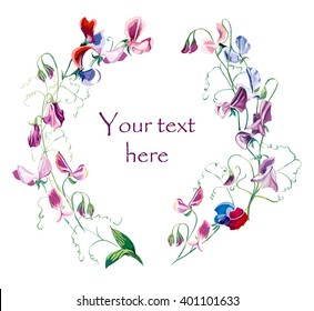 Circle frame from flowers. Wedding drawings. Greeting cards. Sweet peas background, vector composition. Flower backdrop. Place for your text.