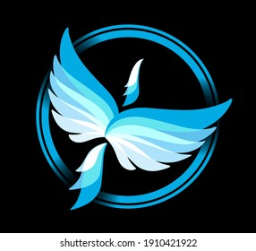 Circle frame with flying blue Phoenix icon. Ice and snow. Eagle, falcon vector image. Bird emblem, print or mascot
