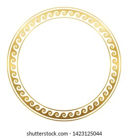 Circle frame with golden spirals or horns, seamless greek pattern. Decorative border, constructed from continuous lines, shaped into a repeated motif. White background.