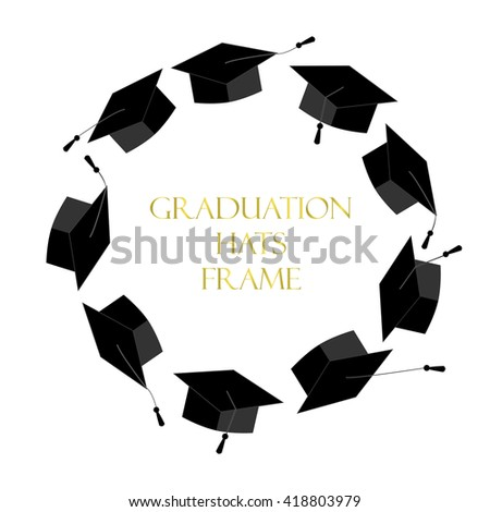 Circle Frame Graduation Caps Place Text Stock Vector (Royalty Free ...