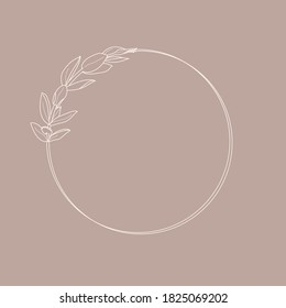 Circle frame of Lisianthus Flowers and branches. Round icon in a trendy minimalistic linear style. Vector Floral Wreath for cosmetics logo, beauty Studio, hair salon, handmade, spa