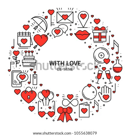 Circle Frame Love Symbols Line Style Stock Vector Royalty Free