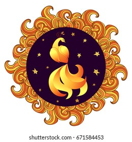 Circle frame with Mythical Firebird. Vector illustration of Phoenix.