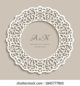 Circle frame with ornamental lace border, cutout paper pattern, elegant vector template for laser cutting, round lacy decoration for wedding invitation card design. Place for text.