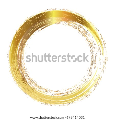 Circle Frame Painted Brush Strokes Abstract Stock Vector (Royalty ...