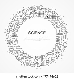 Circle Frame with Scientific Line Icons Isolated on White. Vector illustration. Chemistry Background, Science Lab Research