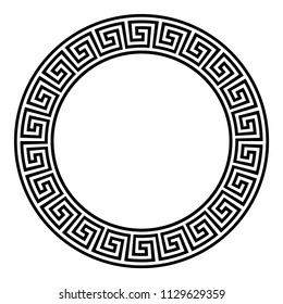 Circle frame with seamless meander pattern. Meandros, a decorative border, constructed from continuous lines, shaped into a repeated motif. Greek fret or Greek key. Illustration over white. Vector.
