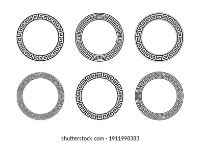 Circle frame with seamless meander pattern. Vector illustration.