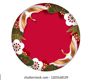 Circle frame/background with traditional Japanese pattern, vector illustration.