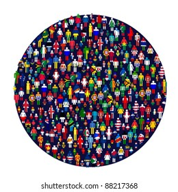 Circle full of colored people. People made of flags.