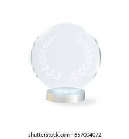 Circle Glass Trophy Award. Vector illustration isolated on background