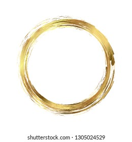 Circle gold frame painted with brush strokes on white background. Abstract vector design element. Gold concept. Vector illustration.