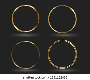 Circle gold frame set of Hand Drawn. Abstract vector design element. Gold concept, shining circle with thin realistic line for poster, banner, cover, print.