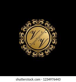 Circle Gold, Luxury Wedding Badge, VV Letter Logo