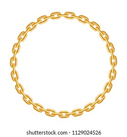 Circle golden chain frame. Realistic style. Isolated element on white background. Vector illustration.