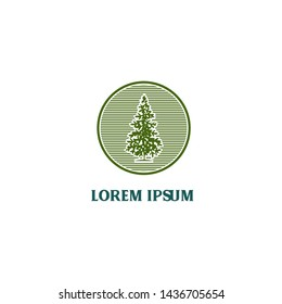 CIRCLE GREEN pine tree logo design. vector illustration. easy to edit, both color, shape, size and position.