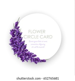 Circle greeting card with realistic flowers. Lavender fowers. Isolated illustration, vector EPS 10.